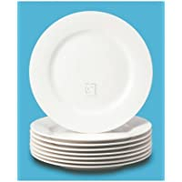 Set Of 8 Thomson Pottery Basic White Stoneware Dinner Plate