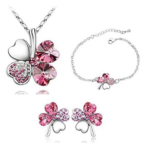 Set - driedelige partij - ketting - oorbellen - armband - bloem - klavertje vier - geluksbrenger - cadeau-idee voor vrouw