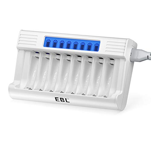 EBL AA AAA Caricabatterie Indipendenti LED Display, Caricatore con 5V 2A Funzione di Ricarica Rapida per AA e AAA NI-MH NI-CD Batterie Ricaricabili