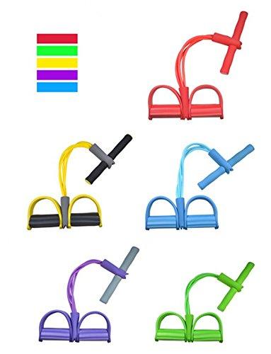 OUSU 4 Bauchtrainer Widerstandsbänder mit Fußpadal, für Situps, Fitness, Yoga, OUSU-22, blau