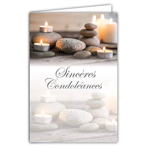 64-1046 bedankkaart, witte kaarsen, kiezelstenen, zee, strand, bodem van hout