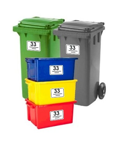Bin Stickers SET OF 5 Rounded Corners House Number Street Name Waterproof Printed Wheelie Bin Vinyl Box Crate Number Stickers and Letter A6