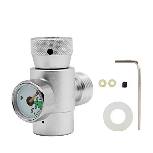 Jeffergarden Kit de Connecteur Adaptateur de Recharge de Cylindre de Réservoir de CO2 (#3: Silver Adapter with Meter)