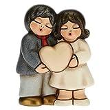 THUN - Bomboniera Coppia di Sposini con Cuore Personalizzabile - Bomboniere Matrimonio - Linea Bomboniere - Formato Piccola - Ceramica - 5,4 x 2,9 x 6,8 h cm