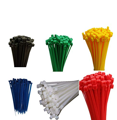 600 Stück Set Kabelbinder farbig bunt je 100 Stück Schwarz Grün Natur Rot Gelb Blau 4,8 x 200 mm