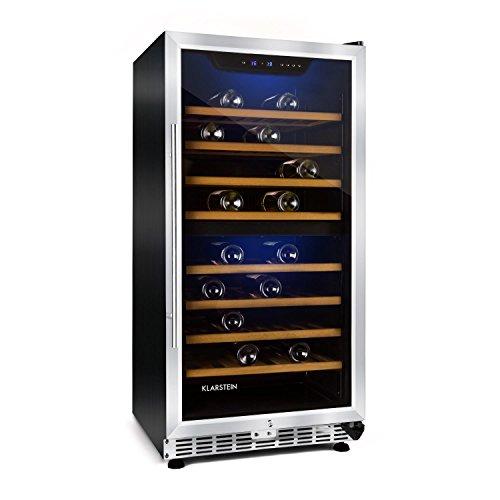 Klarstein Piccola Reserva - Weinkühlschrank, Weinkühler, freistehender Getränke-Kühlschrank, Glastür, Innenbeleuchtung, Regaleinschübe, silber