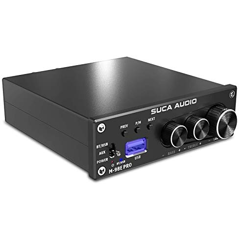 TDA7498E 2 Channel Stereo Audio Amplifier Receiver, Ansten 2.0CH Bluetooth 5.0 Mini Hi-Fi Class D Integrated Amp for Home Desktop Speakers 160W x 2 with Bass Treble and USB Port