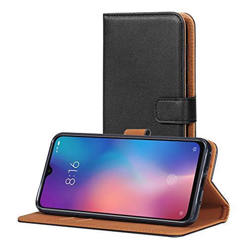 AICEK Hülle Kompatibel mit Xiaomi Mi 9 SE, Lederhülle für Xiaomi 9 SE Schutzhülle PU Leder Klapphülle mit Kartenfach Ständer Magnet Funktion Schwarz (5,97 Zoll)