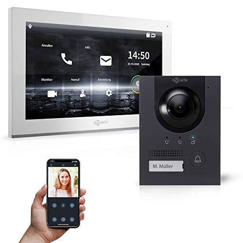 Goliath Sistema de interfono híbrido IPS-105 con vídeo Full HD, aplicación de 1 fam, 1 pantalla táctil completa de 25,4 cm (10 pulgadas), placa de puerta de aluminio, gran ángulo de 180°, AV-IPS-105