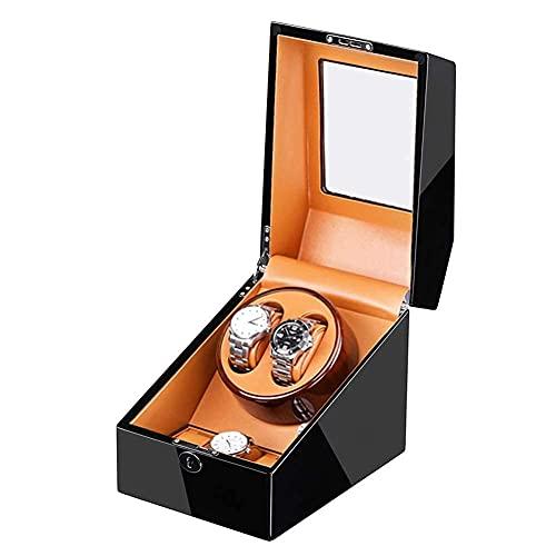 ZCYXQR Enrollador de Reloj enrollador de Reloj para 2 Relojes + 3 adaptadores de Motor de Almacenamiento y Carcasa de Madera con Pilas Pintura de Piano Exterior W (Caja de presentación de Reloj)
