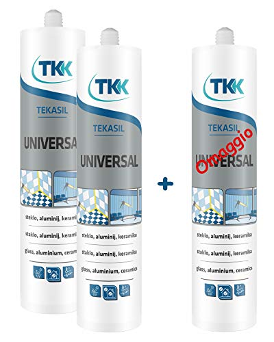TEKASIL - Silicona Acética Blanco Cartucho 280 ml. - Paquete de 2 + 1 de regalo.