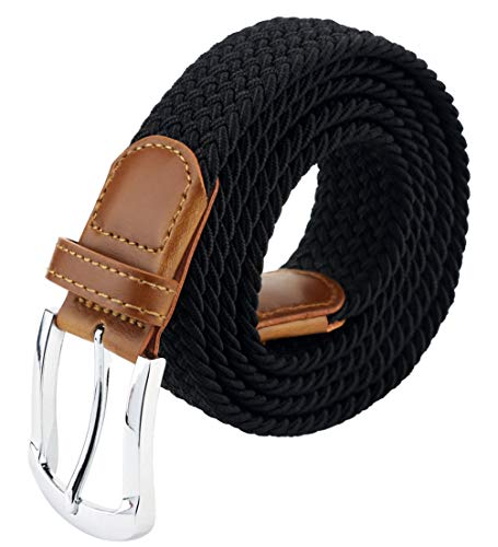 Maikun Braided Elastic Stretch Woven Belt with Leather Tip Nickle Pin 41in Buckle Black
