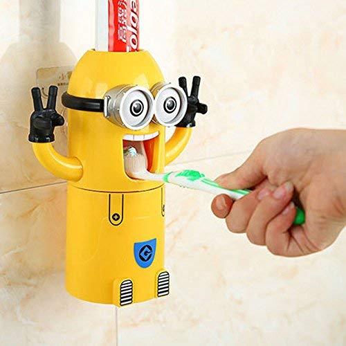 """Dispensador automático de pasta de dientes con soporte para cepillos, diseño de Minion de la película """"Gru, mi villano favorito"""""""