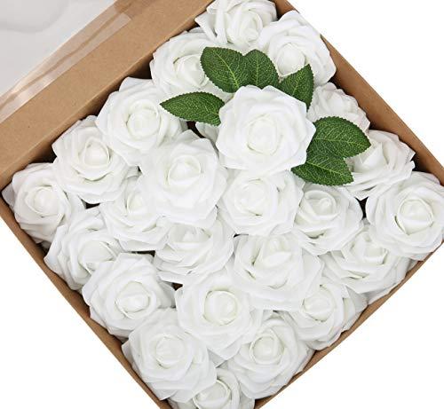 Weiße künstliche Rosen Blumen mit verstellbaren Stielen und Blatt 25pcs gefälschte Schaumrosen Dekoration DIY für Hochzeitssträuße Arrangement Home Esszimmer Dekor Geburtstagsfeier Dekoration