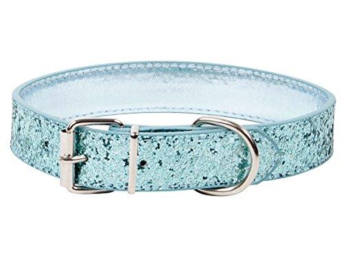 Alsino Hundehalsband Strass Glitzer Halsband Deluxe Strasshalsband Verstellbar Wildleder-Look, Variante wählen:P087/313 blau Gr. L