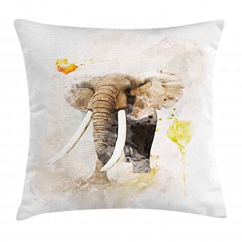 ABAKUHAUS Acuarela Elefante Funda para Almohada, Arte Paintbursh, Estampa Digital Nítida en Ambos Lados, 60 x 60 cm, Tan Gris Pardo Amarillento