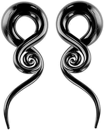 BodyJewelryonline Tapers 0G-6G - Conos de Cristal (Espiral, 1 par), Color Negro