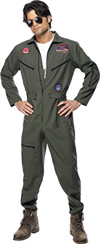 Smiffys, Herren Top Gun Kostüm, Overall, Namensschild und Sonnenbrille, Top Gun, Größe: M, 36287