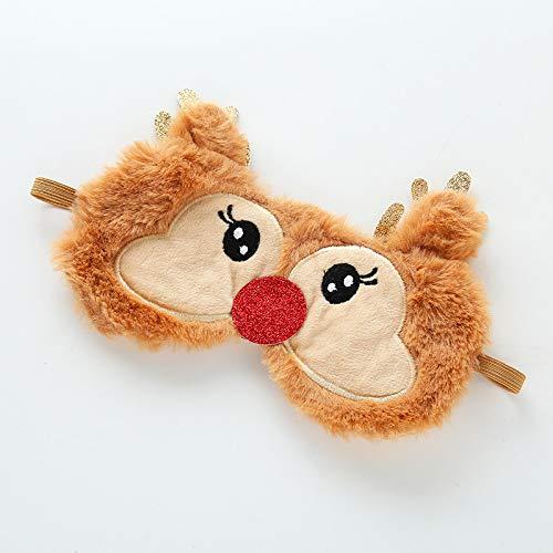 Felpa navideña Animal Eye Cover Máscara para dormir Parche Vendaje Venda para los ojos Venado Invierno Dibujos animados Nap Eye Shade Plush