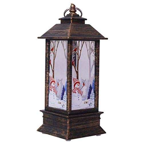 Christmas Lanterns Decorative Outdoor Indoor Illuminated Lights Battery Powered LED Decorative Light, Outside Vintage Xmas Candle Hanging Flameless Lamp for Table Top Home Decor Party Props (C)