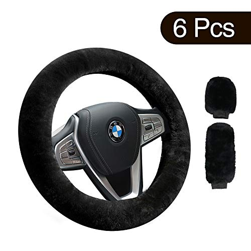 Airsnigi 6 Pcs Steering Wheel Cover,Anti-Slip Soft Winter Warm...