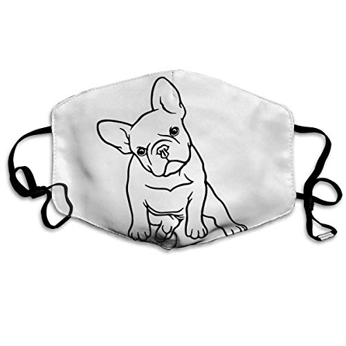 French Bulldog Face Nose Mouth Cover with Adjustable Earloops Reusable Anti-Dust Mask