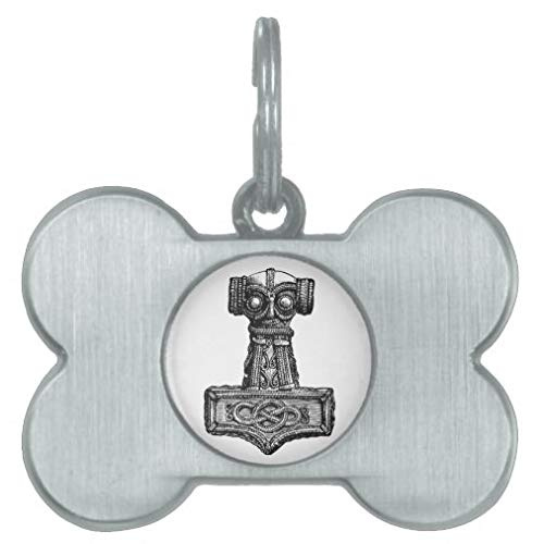 Personalized Pet Tags for Dogs and Cats,Custom Pet ID Tags, Mjolnir: Thor's Hammer Pet Tag Pet Gifts - Bone Stainless Steel