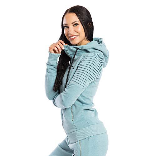 SMILODOX Damen Zip Hoodie 'Ripplez' | Laufjacke für Sport Training & Freizeit | Trainingsjacke - Running | Sweatshirt mit Reißverschluss, Größe:S, Farbe:Mint