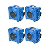 BlueDri 4 Pack BD-AS-550-BL Negative Machine Airbourne Cleaner HEPA Scrubber Water Damage Restoration Equipment for Home, Air Purifier, Portable, Blue
