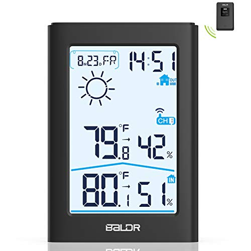 Weather Station, Indoor Outdoor Thermometer Hygrometer with Remote Sensor, Digital Wireless...