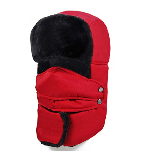 Winter Trapper Fur Hat, Men Women Leather Ushanka Russian Bomber Trooper Cap with Face Cover (Red.)