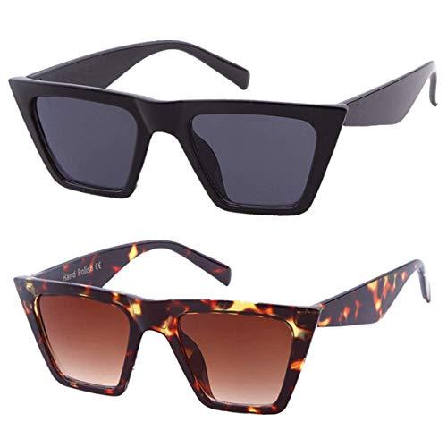 ADEWU Mode Damen Übergroße Sonnenbrille Vintage Cat Eye Retro Oversized Sunglasses - Schwarz+Leopard