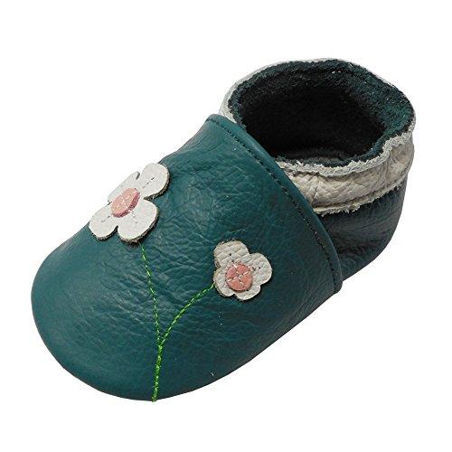 YALION Baby Mädchen Weiches Leder Lederpuschen Kleinkinder Krabbelschuhe mit Süßen Blumen Grün,0-6 Monate