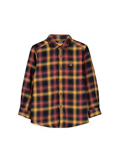 LC WAIKIKI Jungen Baumwoll-Plaid Hemd,Orange,7-8 Jahre