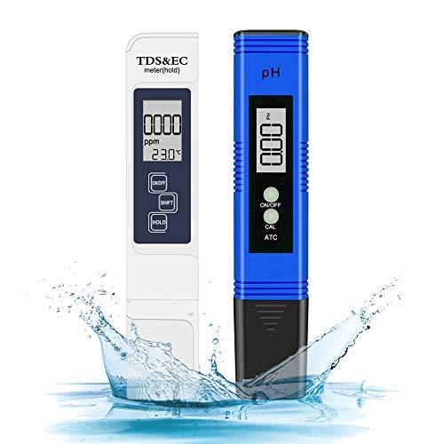 pH Messgerät, Digital pH TDS EC Temperatur 4 in 1 Set, PH Wert Messgerät mit hoher Genauigkeit und LCD Display, Wasserqualität Tester(ATC) für Trinkwasser/Schwimmbad/Aquarium/Pools (Brau Weiß)