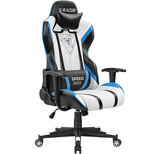 Homall Racing Office High Back PU Leather Computer Desk Video-Game-Chairs, Blue/Black (Renewed) blue chair gaming