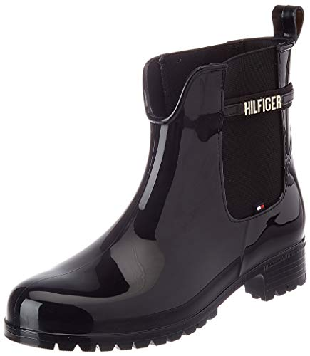 Tommy Hilfiger Damen Black Branding Rainboot Halblange Stiefel, Schwarz, 40 EU