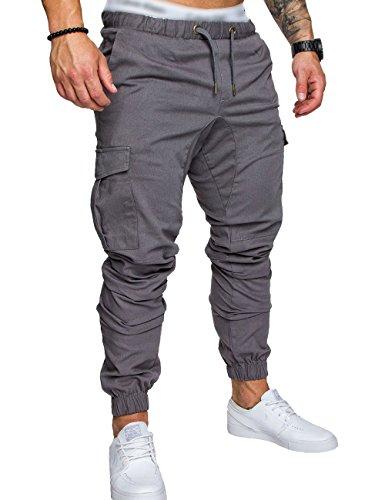 SOMTHRON  Herren Elastische Taille Gürtel Baumwolle Jogging Sweat Hosen Plus Size Mode Lange Sports Cargo Hosen Shorts mit Taschen Joggers Activewear Hosen, L, Grey