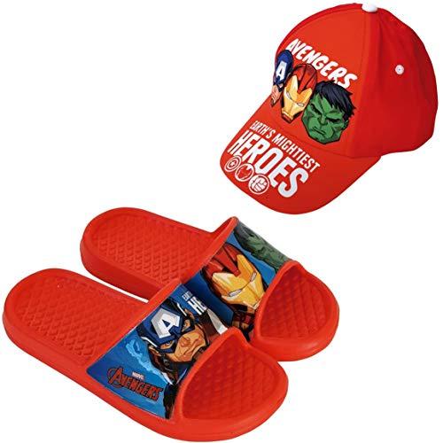 Sandales Avengers Flip-Flop pour la plage ou la piscine + casquette Avengers Marvel pour enfants - Rouge - rouge, 24/25 EU EU