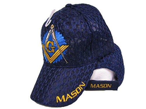 Mason Masons Freemason Masonic Lodge Dark Blue Shadow Mesh Texture Ball Cap 3D Hat