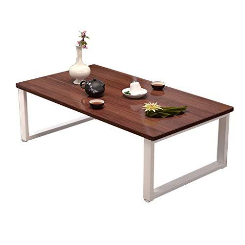 Stolik kawowy, niski stół z litego drewna/stół Kang, stalowa rama + blat z litego drewna Stolik do herbaty w stylu japońskim (rozmiar: 100X50X40CM)