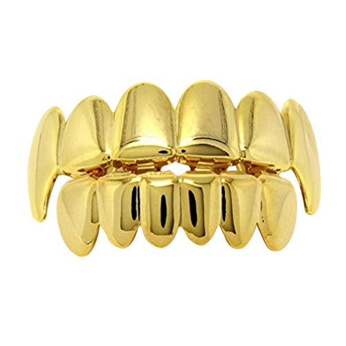 NUOBESTY Hip Hop Style Tooth, Plated-gold Hip Hop Jewelry Golden Teeth Braces Top and Bottom Set Shiny Teeth