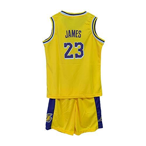 WELETION Kinder Trikot Lakers James Nr. 23 Jersey Basketball Shirt Weste Top Shorts für Jungen und Mädchen(Gelb,L)