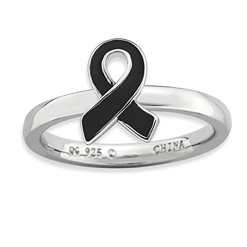 Anillo de plata de ley 925 pulido chapado en rodio apilable expresiones negro esmaltado, tamaño L 1/2 joyería regalo para mujeres