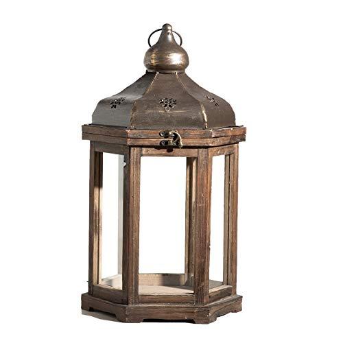 Unbekannt Laterne Holz braun 6eckig Windlicht Kerzenhalter Kerzenständer Auswahl (Groß (26x26x49cm))