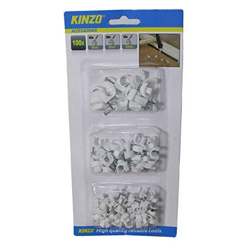 100x Kabelhalter Kabelschelle Nagelschelle Kabelklemme Kabel Clips 6/8/10mm Weiss