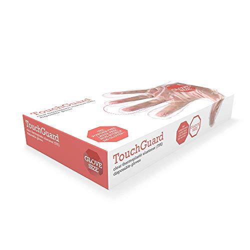 TouchGuard, Guanti monouso in gomma termoplastica (TPE), trasparenti, senza talco, confezione da 200, taglia M