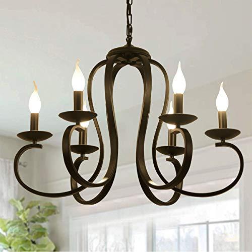 Ganeed 6 lampor ljuskronor, fransk country vintage metall ljuskrona belysning, ljus stil hängande lampa med svart finish för bondgård, matsal, köksö, foajé