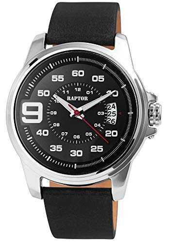 Raptor Herren-Uhr Echt Leder Armband Leuchtende Zeiger Analog Quarz RA20288 (schwarz)