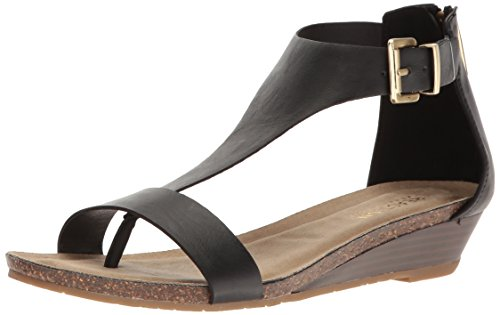 Kenneth Cole REACTION Women's Great Gal T-Strap Wedge, Black, 8 M US